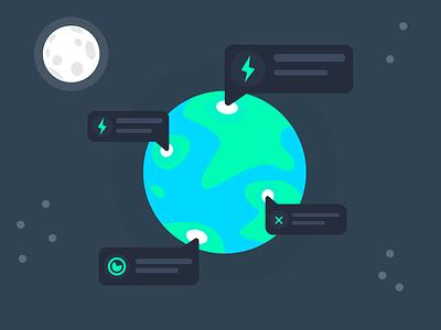 Geospatial monitoring and alerting web icon vector webdesign illustration design