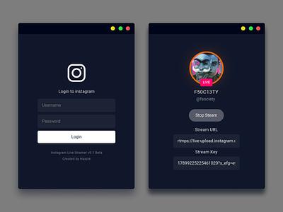 Instagram Live - Streaming Client Desktop App typography application ux ui design