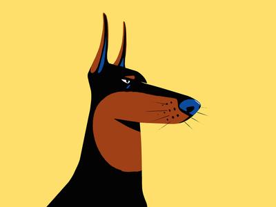 Doberman dangerous character doberman dog procreate illustration