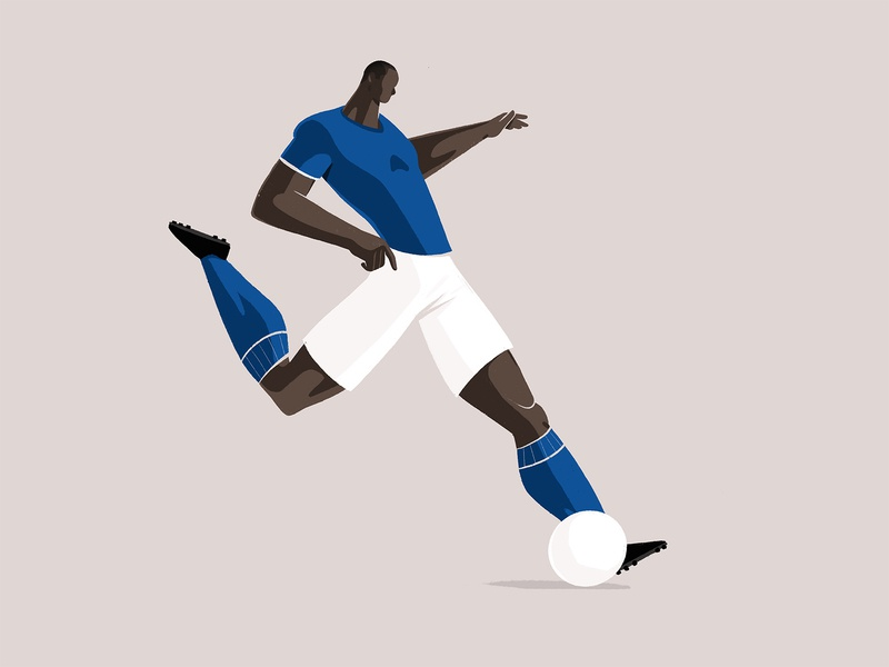 Kick in it - 2 runner run move movement character minimal ball kick procreateapp procreate illustration player footballer football soccer