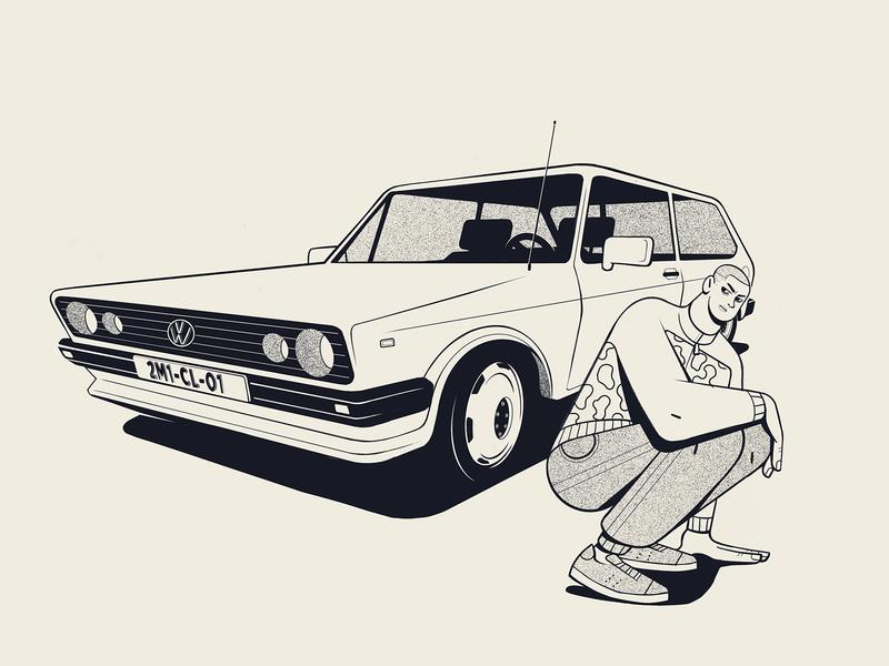 Demain c'est loin retro 1990s 1980s two colors balck and white procreate app procreate character design character tdi golf volkswagen car illustration car illustration