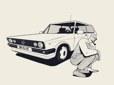 Demain c'est loin retro 1990s 1980s two colors balck and white procreate app procreate character design character tdi golf volkswagen car illustration car illustration