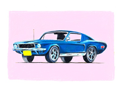 MUSTANG hand drawn bullit car mustang ford mustang neocolor illustration