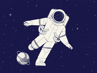 Kick in it 3 outerspace planet stars cosmos cosmonaut astronaut spaceman space procreate app procreate illustration