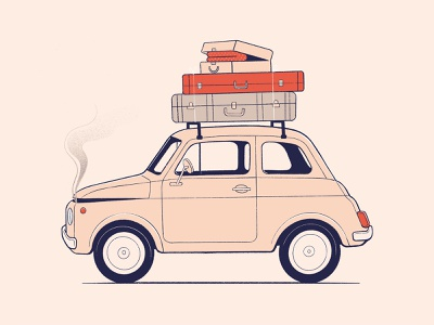 Mini smoke procreateapp procreate road holiday vacation suitcase automotive vintage breakdown small mini car illustration