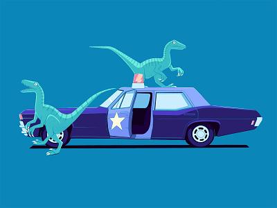 Velociraptors automotive velociraptor dinosaurs dinos car police car police procreate illustration