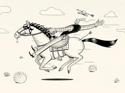 All the Pretty Horses running run western gallop cowboy hat cowboy horse procreateapp procreate illustration