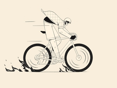 Gravel flames speed character design procreate illustration gravel cycle bicycle bicycling bike
