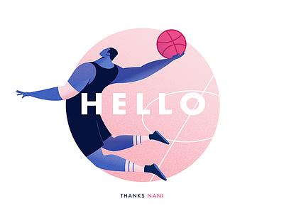 Hi Dribbble! pink thanks illustrator basket-ball typography player illustration first debuts