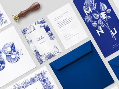 Wedding stationery illustration engraving plants flowers drawing typography graphism graphic design type reflex blue pantone wedding card blue ink blue save the date invite design card print wedding stationery