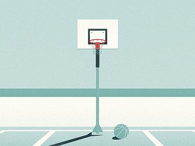 Beach Court grain noise illustration long shadow shadow sun sunny blue sky vector minimal ball beach court basketball