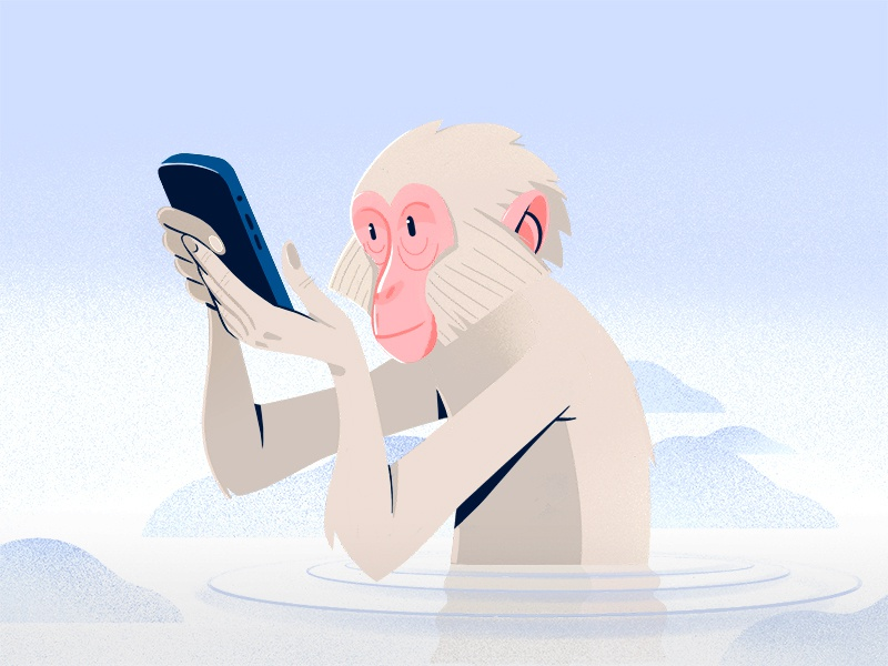 Snow Monkey procreate illustration cold ice water winter snow smartphone phone mobile japan snow monkey japanese macaque macaque monkey