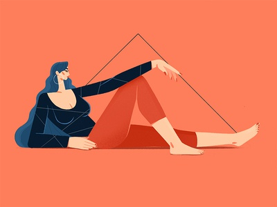 Spleen woman portrait triangle flat character design character procreate app procreate beautiful lying down blue hair long hair muse sexy body illustration woman