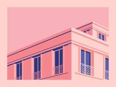 Le Havre 5 reflect building sky window concrete architecture illustrator flat minimal vector illustration