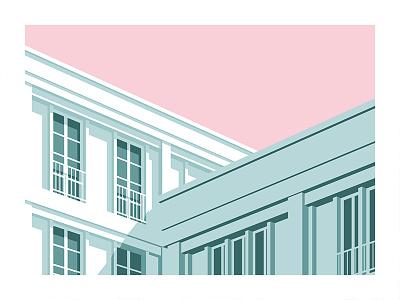 Le Havre 6 long shadow shadow simple window sky minimal building concrete architecture illustrator flat vector illustration