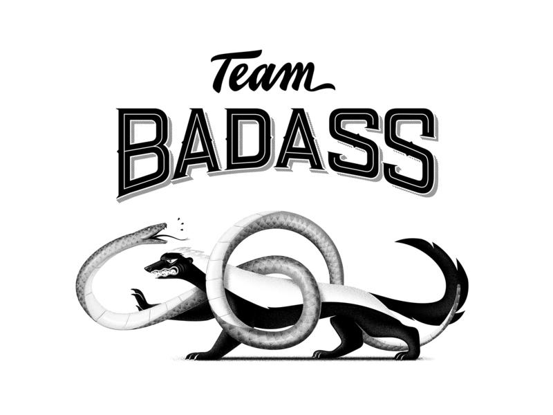 La Team Badass (The badass team) team team spirit badass snake honey badger ratel character design illusrator illustration
