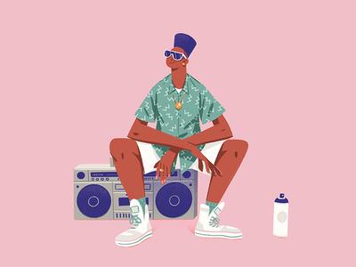 Fresh rap man retro spray can ghetto blaster ghettoblaster hip hop 90s 80s cool fresh procreate illustration character design
