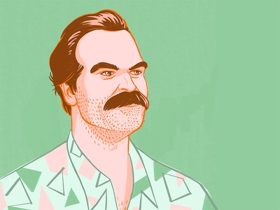 "Jim Hopper, ""the American"" moustache 80s style 80s retro shirt david harbour jim hopper pop pop culture illustration procreate portrait character fan art fanart stranger things strangerthings"