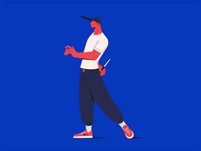 Gre blue fight street knife procreate illustration character design design character