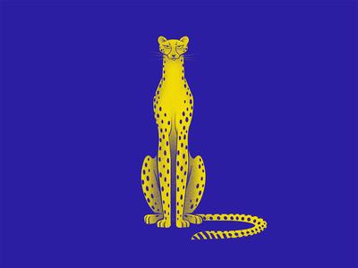 Cheetah africa animal nature blue 2 colors savage wildcat cheetah cat procreate illustration