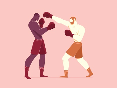 Sting like a bee characters geometic minimal procreate illustration men fighter fight wrestling wrestler wrestle sport boxing boxer