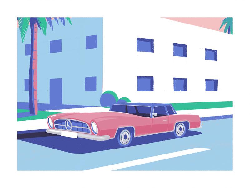 Beautiful monster auto automotive shadow palm tree palmtree street mercedes car procreate illustration