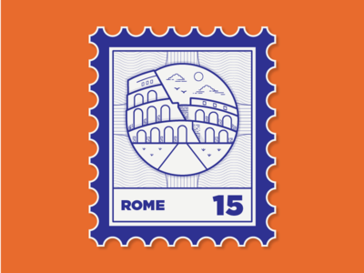 Places I've been to colosseum location date mail travel blue stamp rome