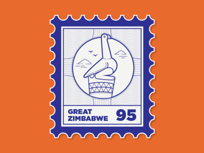 Places I've Been To location date blue mail bird stamp zimbabwe travel