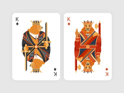 Card Kings crown black red white diamonds clubs playing cards cards lion king illustration
