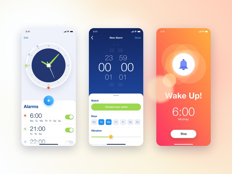 Alaram Clock ux  ui school app ios app week days watch settings time ios schedule alarmclock alarm