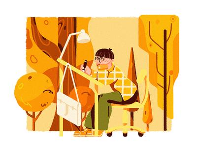 architect tree yellow plant design illustration character
