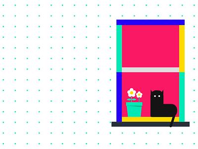 Window home pink anano wall light flat city illustration life flower cat window