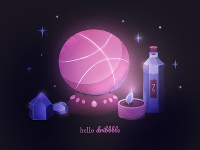 Magic Dribbble Debut! art thanks invite crystal candle illustration magic hello first-shot dribbble debut