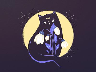 Black cat with Galanthus magic illustrator moon art flowers cat illustration