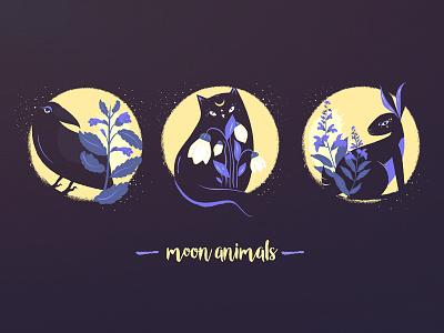Set of magic animals with herbs melissa galanthus salvia herbs set illustarion moon rabbit raven cat magic