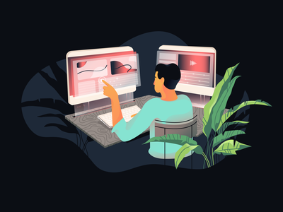 Video editor illustration gradients character texture video plant vector flat illustration