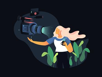 Comfort in front of the camera blog camera gradient vector flat illustration