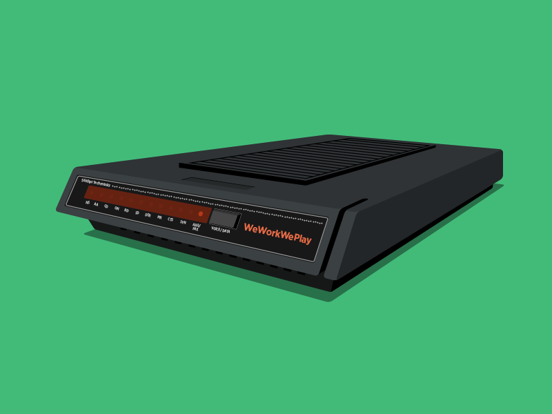 56k Modem flat illustration we work we play