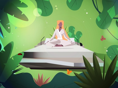 Relax in nature nature art woman illustration art animation character graphics design creative 2d illustration