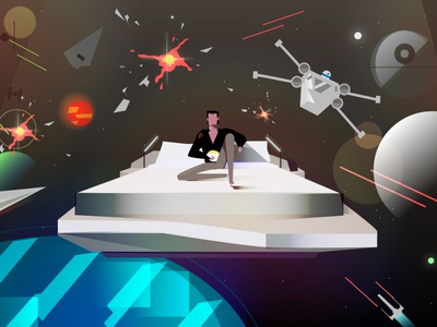 Man in space space character 2d motion design creative animation illustration design