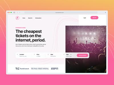 Fanimal events event tickets ticket music pink design landing minimal web design ux landing page website ui