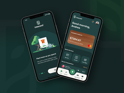 Treecard UI crypto banking app banking money trees nature app mobile sustainability finance bank ui