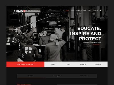 Ammo NYC Redesign Proposal website redesign dark clean redesign ux ui web detailing car website landing
