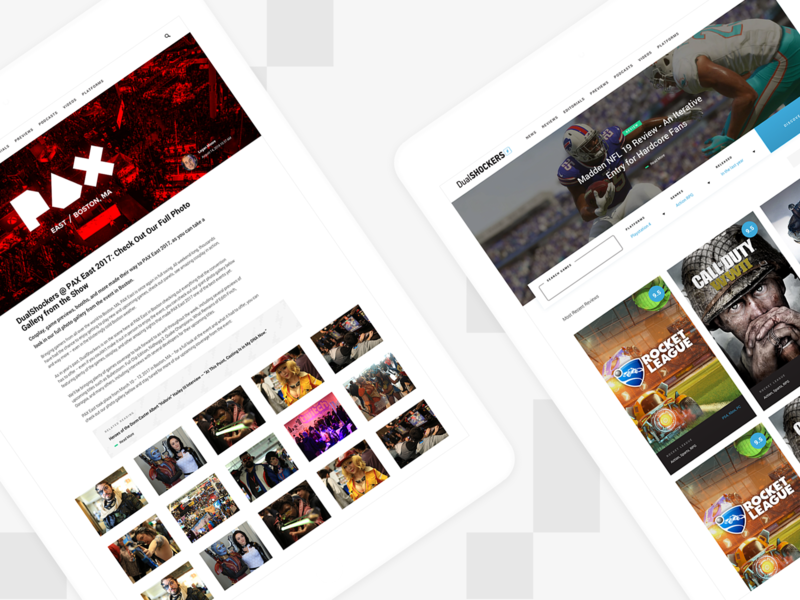 DualShockers: Tablet Pages responsive tablet minimal gaming web design ux website ui