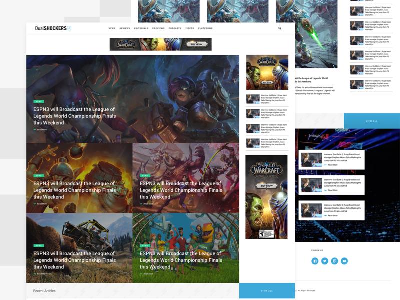 DualShockers: Homepage magazine social news video game gaming blog web design ui ux website
