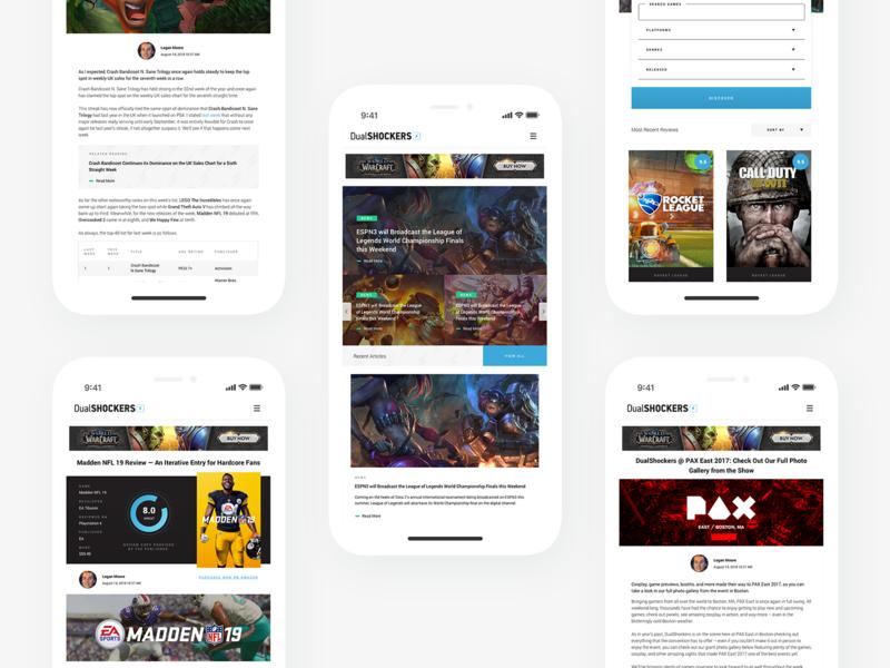 DualShockers: Mobile interface app blog iphone x iphone video games gaming mobile web design website ux ui