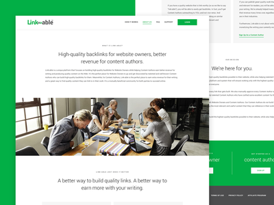 Link-Able: About Page about us green simple tech backlink seo minimal web design ux website ui