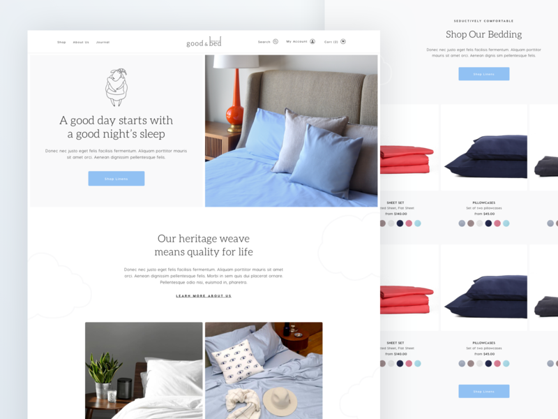 Good and Bed - Homepage luxury web design landing page squarespace shopify ecommerce design ecommerce bedding linens