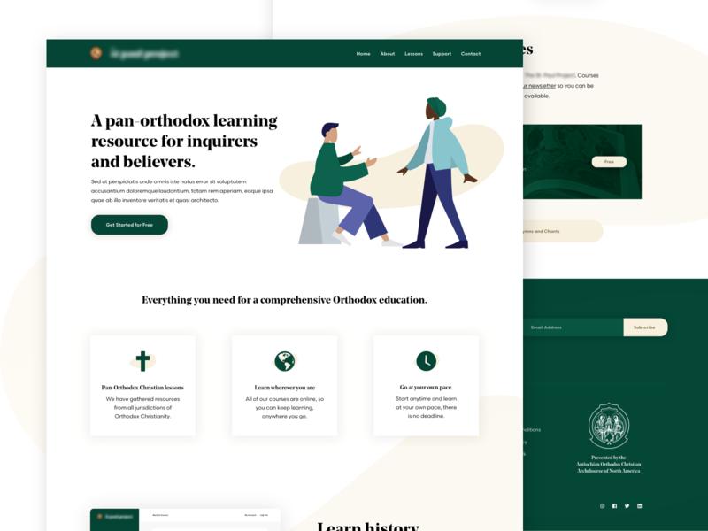 Christian Learning Platform illustration courses education ui church christian orthodox e-learning landing page