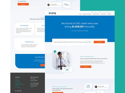 PMG Home website redesign fqhc chc wordpress homepage healthcare minimal ux web design landing landing page website ui